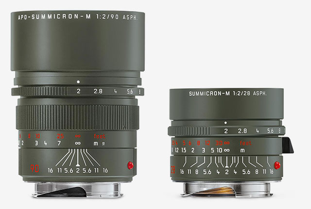 Leica 90mm APO-Summicron-M ASPH f/2.0 Safari (Leica no 11705, price $5,095) and Leica 28mm Summicron-M ASPH f/2.0 Safari (Leica no 11704, $4,895), both limited to 250 pcs worldwide.