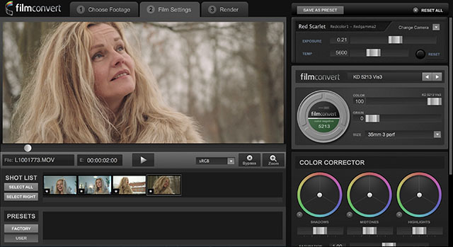 Film Convert software tool for grading of video