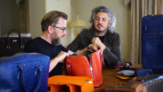 Thorsten von Overgaard and Matteo Perin working on design of camera bags and travel bags.