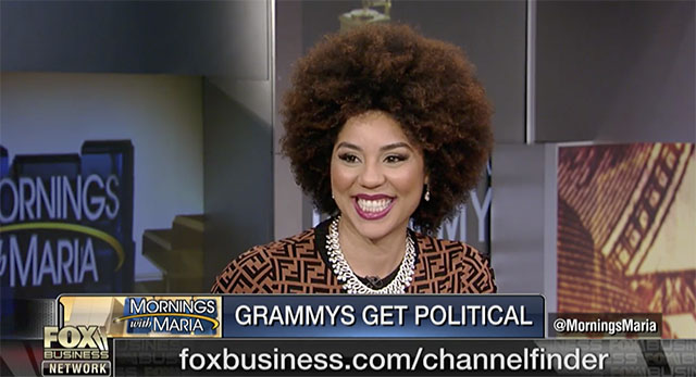 Joy Villa on Mornings with Maria on Fox Business the day after the Grammys.