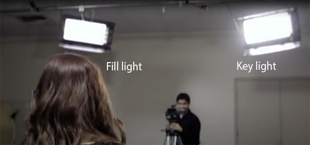 Key Light (strongest light source) and Fill Light (less strong light source to soften shadows) is a basic concept of light for still, film, theatre and movie. See Fill Light and Key Light definitions for more.
