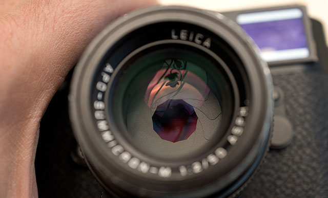 The aperture blades inside the lens is clearly visible in this photo.