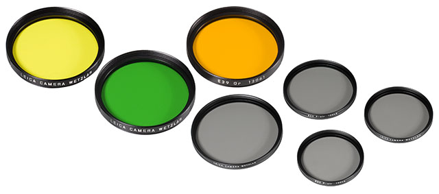 Leica color filters and Neutral Density filters. See more on the Leica website.