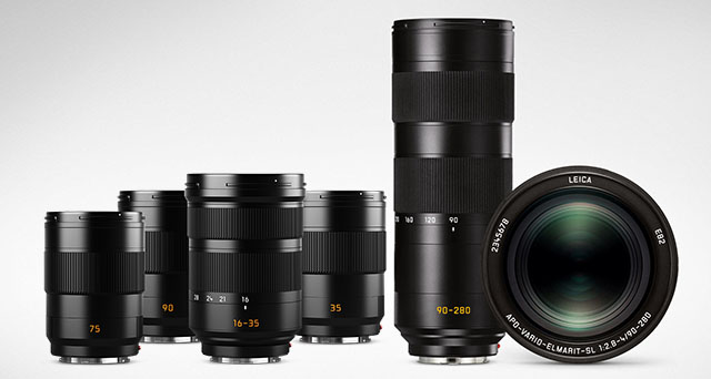The Leica SL lenses started out with a 24-90mm f/2.8 and continues with 50mm f/1.4 and 90-280mm f/2.8-4.0. In near future also 35mm f/2.0, 75mm f/2.0, 90mm f/2.0, and a 16-35mm f/3.5-4.5.