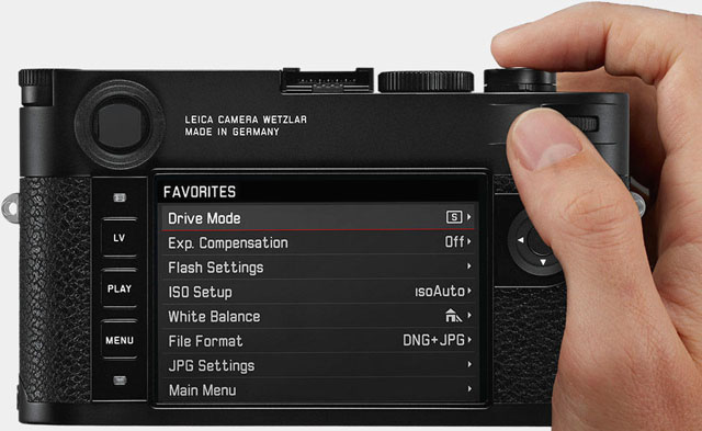 The Favorites Menu of the Leica M10 is the first you see when you press MENU.