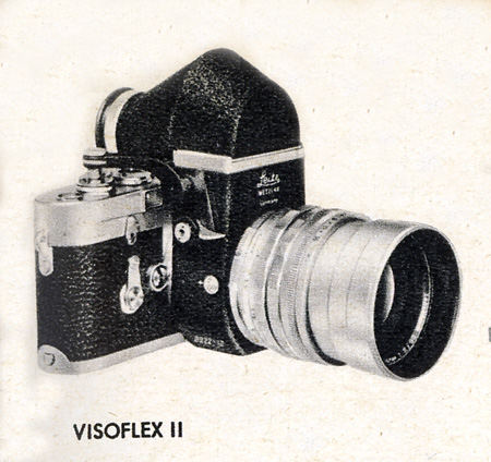 The Leitz VisoFlex came out in 1951 as a way to implement a mirror ona Leica M. The first version exist for screw mount lenses and M mount lenses.