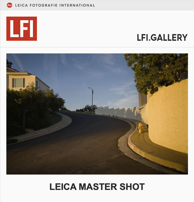 "The photo by Thorsten Overgaard ""Bellgave Pl, Los Angeles"" was included in the LFI Gallery ""Leica Master Shot""."