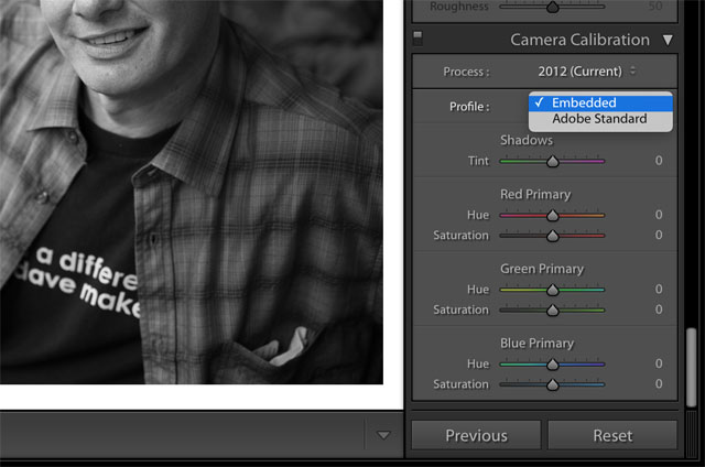 "In Lightroom you can change the profile to Embedded (or Adobe Standard) and then press ALT and you will see the possibility to ""MAKE STANDARD"" a little further down on the right corner of Lightroom. Keep your eyes open for the change of text below as it only appears when you press ALT."
