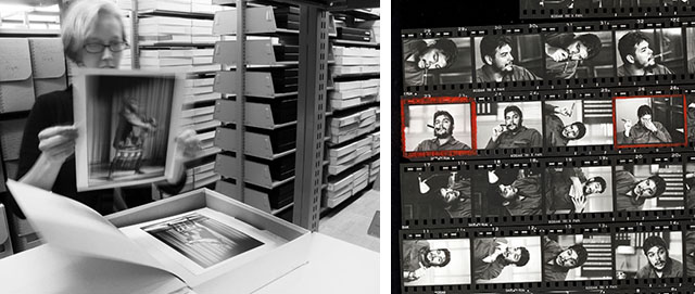 A look into the Magnum archive: Prints archive and to the right, a contact sheet with marks for which photos to make prints of. Often a print will also have a note on how it was made so a new print can be made to look the same. Most picture archives would have large archives of prints in the past, and when advertising agencies or newspapers asked for a photo, they would send a selection of prints that then had to be returned to the archive when done with scanning them.
