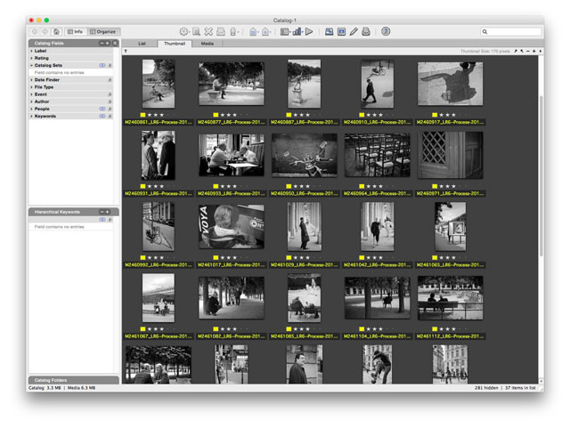 Media Pro is a virtual catalog. When you have 100,000 pictures in it, it's only 1 GB because it doesn't hold any of the original files. It just shows previews and has a link to the original file. You can add descriptions, keywords, etc in Media Pro, and then sync the data with the original files (Media Pro used to be iView Media Pro, then bought my Microsoft to be Microsoft Expression Media, then finally bought by Phase One to be Media Pro).