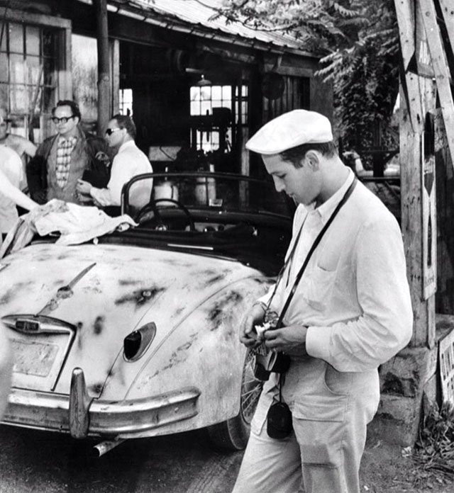 Paul Newman with his Leica (director Sidney Lumet and actor Marlon Brandoin the background).