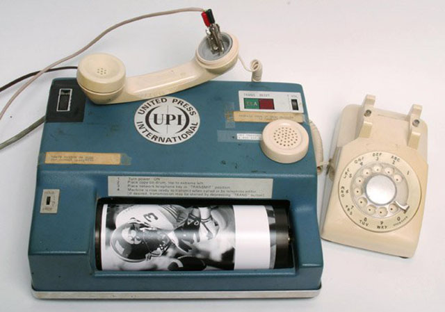 This is how pictures were transmitted in the 1970's. A photograph would usually have the the IPTC data written by typewriter in the edge or on the back, which was the keywords and factual data about the photo that would stay with the print in the archive. Photograph by Andy Scott/The Dallas Morning News.