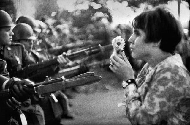 By Marc Rriboud. Washington DC 1967, anti-Vietnam demonstration.