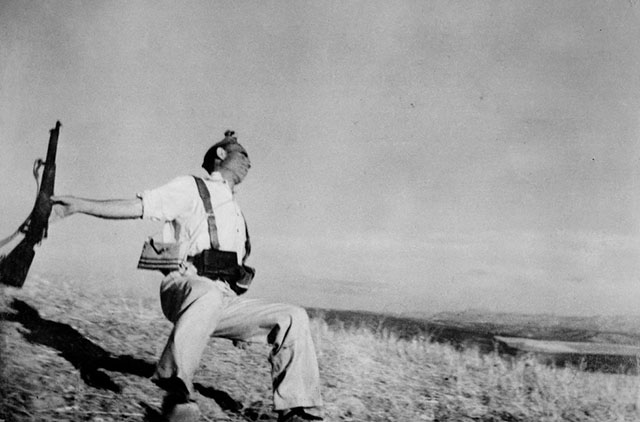 "Robert Capa's famous photograph ""Death of a loyalist militiaman"" from the Córdoba front in Spain, September 1936."