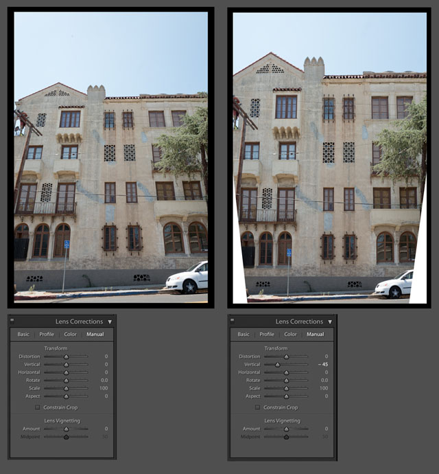 Perspective correction in Adobe Lightroom. © 2017 Thorsten Overgaard.  Perspective correction - In software like Adobe Lightroom there is often a feature to correct perspective (and distortion) like seen below. You can change perspective this way, or at least make believe: If you correct a tall building on teh vertical lines, you will notice that the height of the windows doesn't match the perspective. If the building is with straight lines, the windows should all be of the same size. But a tall building seen from below and corrected with software will have taller windows (closer to camera) in the bottom than in the top (further away from the camera originally).